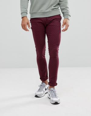 ASOS Бордовые брюки скинни в горошек. Цвет: красный
