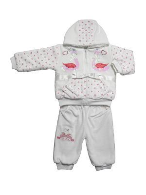 Комплект: кофта на замке, с капюшоном; штанишки Bestido. Цвет: розовый, белый