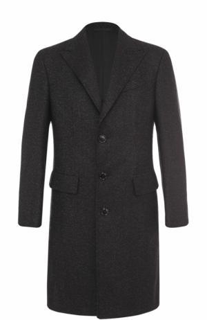 Однобортное пальто из смеси шерсти и кашемира Ermenegildo Zegna. Цвет: темно-серый