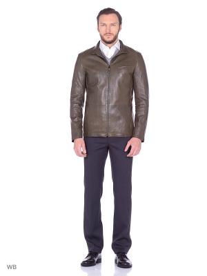 Кожаная куртка ALFREDO GALLIANO. Цвет: хаки
