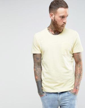 Selected Homme Меланжевая трикотажная футболка с карманом. Цвет: желтый