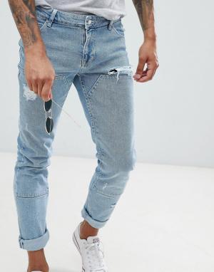 ASOS Синие джинсы скинни со вставками DESIGN. Цвет: синий