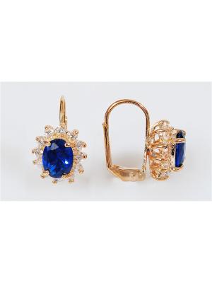 Серьги Lotus Jewelry. Цвет: синий