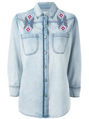 Джинсовая рубашка с вышивкой Sandrine Rose. Цвет: синий