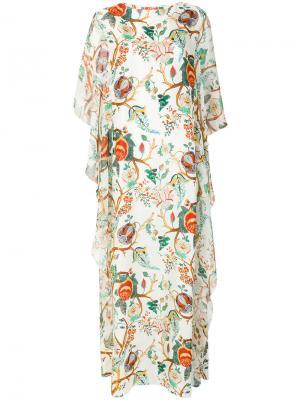 Длинное платье  с цветочным принтом Alberta Ferretti. Цвет: телесный