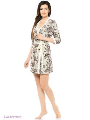 Комплект домашней одежды ( халат, ночная сорочка) HomeLike. Цвет: молочный