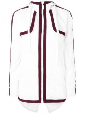 Куртка с капюшоном и разрезом на спине No Ka Oi Ka'. Цвет: белый