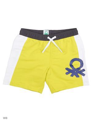 Бордшорты United Colors of Benetton. Цвет: желтый, антрацитовый, белый