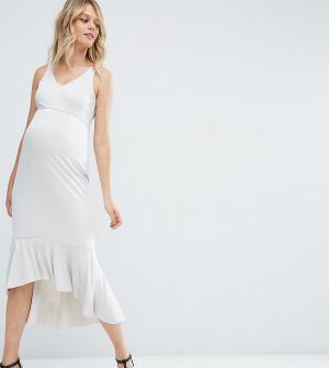 ASOS Maternity Платье миди для беременных с рюшами по краю. Цвет: серый