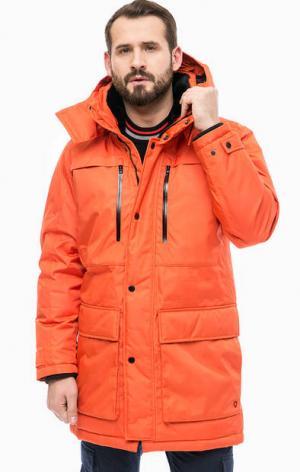 Оранжевая парка-пуховик с капюшоном Strellson. Цвет: оранжевый
