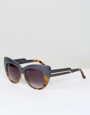 Jeepers Peepers Черепаховые солнцезащитные очки кошачий глаз. Цвет: черный