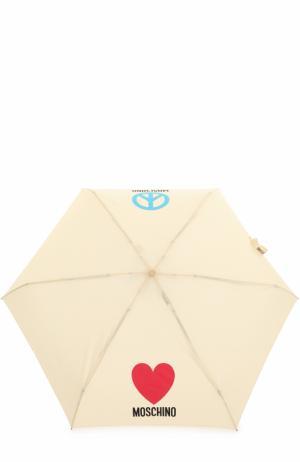 Складной зонт Moschino. Цвет: бежевый