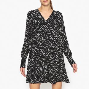 Платье трапециевидное с V-образным декольте OSSIP ESSENTIEL ANTWERP. Цвет: рисунок черный