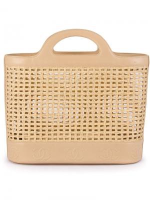 Плетеная сумка-тоут Chanel Vintage. Цвет: телесный