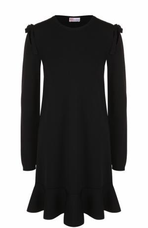 Мини-платье с длинным рукавом и оборкой REDVALENTINO. Цвет: черный