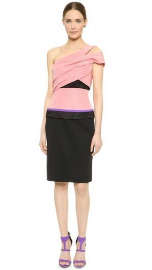 Платье с открытым плечом J. Mendel. Цвет: бледно-розовый/черный