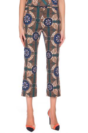 Укороченные брюки с карманами Max Mara. Цвет: коричнево-зеленый