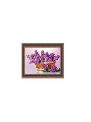 Корзина с сиренью В1765 Картина в раме 40х50 PROFFI. Цвет: сиреневый, коричневый