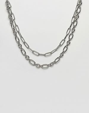ASOS Серебристое массивное ожерелье-цепочка в несколько рядов DESIGN. Цвет: серебряный