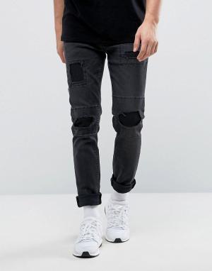 ASOS Черные рваные джинсы скинни. Цвет: черный