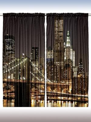 Комплект фотоштор из полиэстера высокой плотности Мегаполис, 290*265 см Magic Lady. Цвет: коричневый, черный