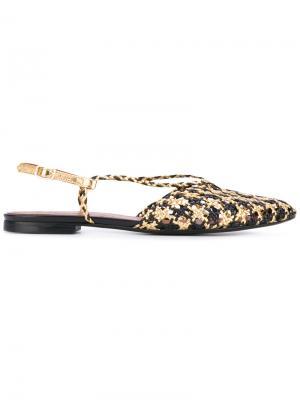 Плетеные сандалии Michel Vivien. Цвет: чёрный