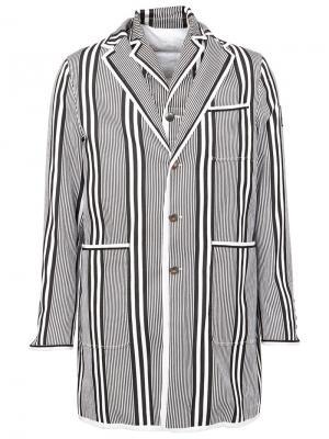 Короткое пальто в полоску Moncler Gamme Bleu. Цвет: синий