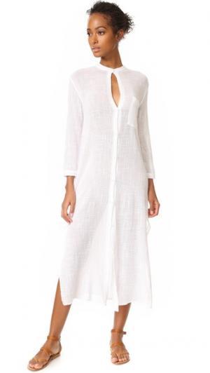 Макси-платье со слегка укороченными рукавами Enza Costa. Цвет: белый