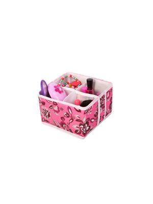 Кофр для мелочей и косметики 4 ячейки 15х15х10см Зефирка COFRET. Цвет: розовый