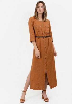 Платье Lino Russo. Цвет: коричневый