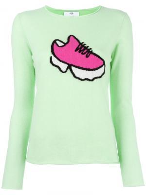 Джемпер с принтом-интарсией кроссовки Allude. Цвет: зелёный
