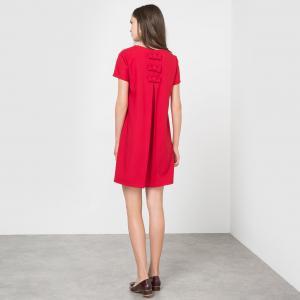 Платье прямого покроя с короткими рукавами MOLLY BRACKEN. Цвет: красный