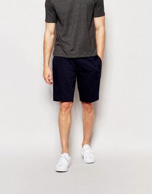 ASOS Темно-синие зауженные шорты средней длины в строгом стиле. Цвет: темно-синий