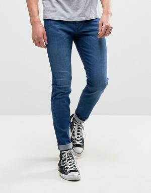 Rollas Синие выбеленные супероблегающие джинсы Stinger. Цвет: синий