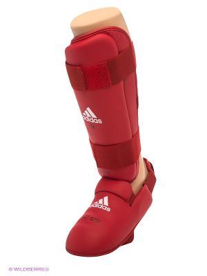 Защита голени и стопы WKF Shin & Removable Foot Adidas. Цвет: красный
