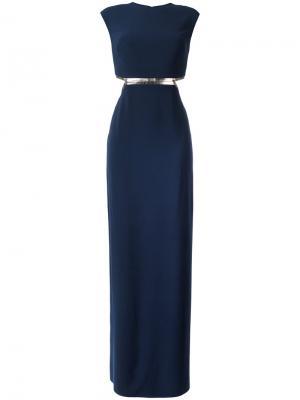 Вечернее платье с открытой спиной Halston Heritage. Цвет: синий
