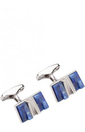 Серебряные запонки с отделкой Ermenegildo Zegna. Цвет: темно-синий