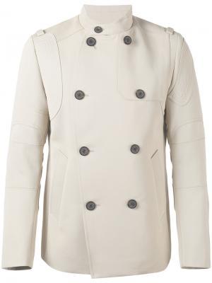 Двубортное пальто Wooyoungmi. Цвет: телесный