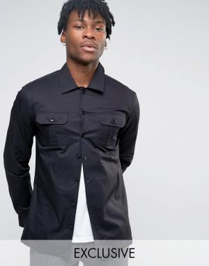 Noak Рубашка скинни в стиле милитари. Цвет: черный