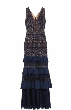 Приталенное кружевное платье-макси Tadashi Shoji. Цвет: темно-синий