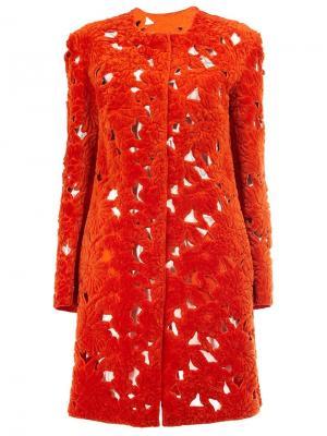 Однобортное пальто Giambattista Valli. Цвет: жёлтый и оранжевый
