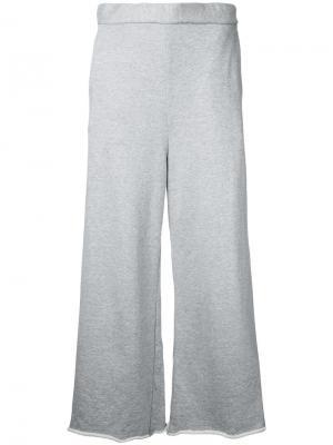 Укороченные широкие брюки Cityshop. Цвет: серый