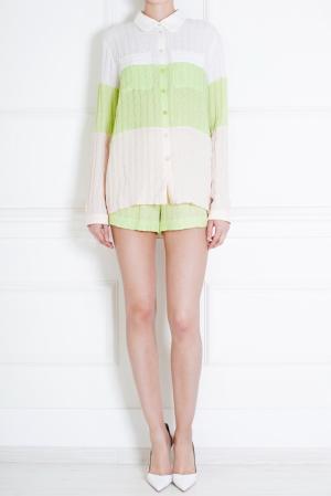 Шелковая рубашка Tzipporah. Цвет: белый, розовый, салатовый