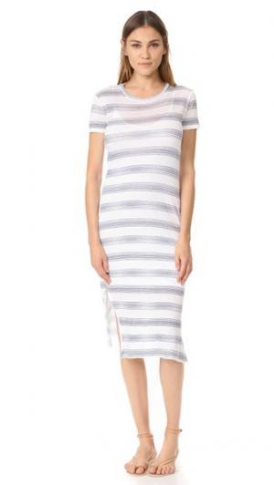 Макси-платье в полоску с короткими рукавами Stateside. Цвет: белый