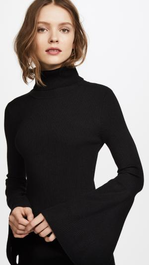 Rib Tulip Sleeve Turtleneck Dress 525 America