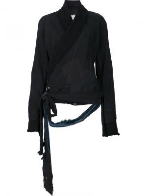 Пиджак с запахом и потертой отделкой Greg Lauren. Цвет: чёрный