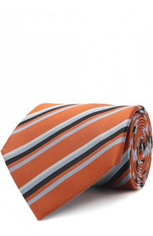 Шелковый галстук в полоску Lanvin. Цвет: оранжевый