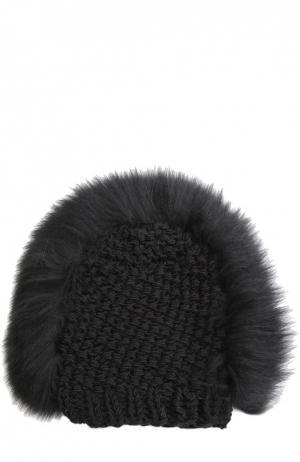 Вязаная шапка с отделкой из меха лисы Gigi Burris Millinery. Цвет: черный