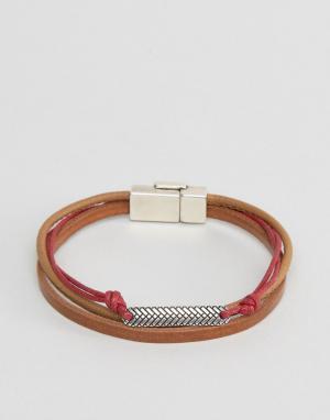 ASOS Коричнево-красный браслет с зажимом. Цвет: коричневый