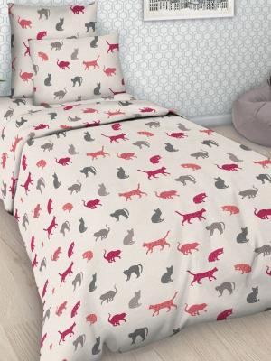 Детский комплект постельного Кошки, 1,5-спальный, наволочка 50*70, хлопок Letto. Цвет: бледно-розовый, красный, зеленый